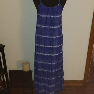 Merona Blue and White Tie Dyed Maxi Dress